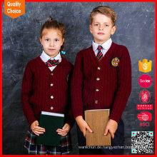 Kinder 100% Baumwollkabel rote Farbe gestrickte Schulwolljacke