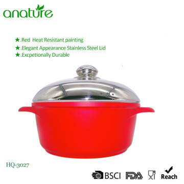 Die Casting Aluminium Red Induction Bottom Casserole