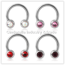 316L Surgical Steel Double Jeweled Circular Barbell