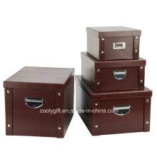 Boîte de rangement pliable en carton en PVC polyvalente polyvalente avec bouton et poignée en métal pour l'emballage de bureau / maison