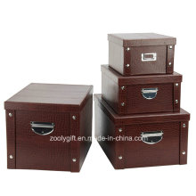 Multipurpose caixa de armazenamento dobrável de papelão de PVC forte com botão de metal e alça para Office / Home Packing