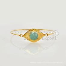 Lapis Lazuli Edelstein-Gold überzogene Sterlingsilber-Armbänder für Großhandelsversorgungsmaterial