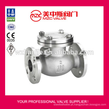 Válvula de retenção ANSI 150LB aço inoxidável Swing
