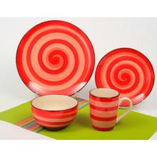 Conjunto de cena pintada a mano de cerámica del círculo 16pcs anaranjado (TM01063)