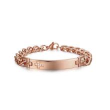 Chunky rose gold mens pulseira cristã, gemstone pulseira cruz jóias