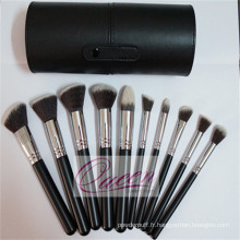 Ensemble de brosse à maquillage 10PCS de haute qualité avec boîtier en cylindre noir