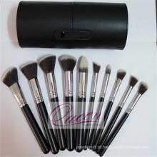 Alta qualidade 10pcs conjunto de escova de maquiagem com uma caixa de cilindro preto