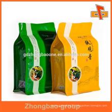 Block bottom reusable aluminum foil bag for tea with custom print