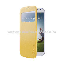 High-quality Elegant Slim III Leather Case for Samsung S4 (i9500) with Yellow Color