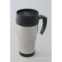 14oz Natural Color Stainless Automotive Cup with Plastic Lid