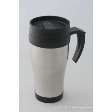 14 oz de color natural inoxidable taza de automoción con tapa de plástico
