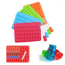 wholesale small 50 cavities cake fondant embossing mould with dropper 3d silicone gummy bear molds