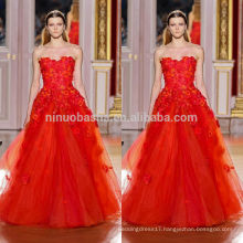 2014 Hot Sale Red Sweetheart Floor-length Tulle Made A-Line Wedding Dress Gown With Venice Lace Accent NB0628