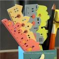 Kostenloser Versand Kunststoff Cartoon Falten Herrscher Set mit PVC-Tasche Verpackung