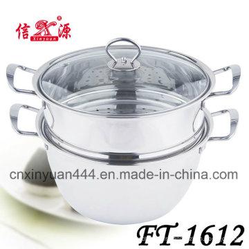 Pot de vapeur inox verre couvercle deux couche (FT-1612)