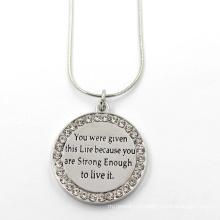 Moda Jóias Customerized Engraved Textos Round Pendant Necklace