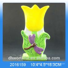 Humidificateur en céramique en céramique en forme de fleur jaune pour la pièce