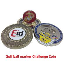 Moeda de desafio de marcador de bola de golfe de metal personalizado