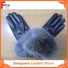 Luvas de couro de pele de carneiro forrado de pele de raposa de prata