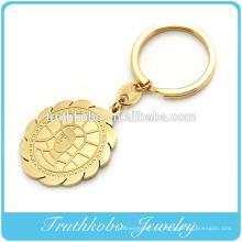 Llaveros de goma personalizados de calidad superior chapados en oro con el padre Jesús colgante en línea