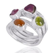 Natürlicher Idocrase und Turmalin Edelstein 925 Sterling Silber Spiral Ring