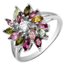 Moda joias anéis de prata turmalina (GR0028)
