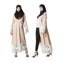 Femmes de polyester de qualité supérieure fantaisie robe kimono musulman avant dentelle abaya à Dubaï