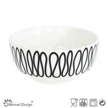 14cm Porcelain Rice Bowl with Geometrical Decal Design