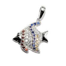 Moda peixes coloridos forma cz pingente jóias descobertas encantos