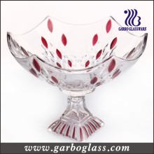 Feather Shape Glass Fruit Bowl with Lid