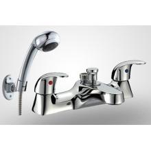 Crossed Handle Brass Bathtub Faucet (Double holes)