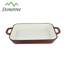 Fuente de hierro fundido / bandeja de esmalte de hierro fundido / plato de hierro fundido