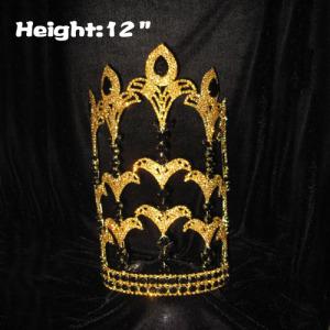 12in Height Gold Rhinestone Fleur De Lis Pageant Crowns