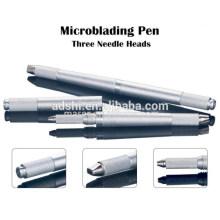 Nouvelle génération de trois têtes manuelles stylo tatouage microbille, 3 pINS stylo tatouage permanent maquillage permanent