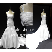 Alibaba wedding dress 2016 designer wedding gowns one shoulder bridal dress beaded pleats long train wedding dress girl gown