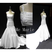 Alibaba vestido de noiva 2016 designer vestidos de noiva um ombro vestido de noiva retalhos plissados vestido longo vestido vestido de noiva vestido menina