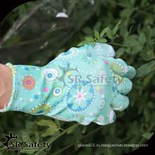 SRSAFETY 13G PU с пальмовым покрытием дамы используют садовые перчатки / рабочие перчатки