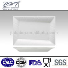 Rectangle bone china square restaurant dinner plate with line in different sizes wholesale