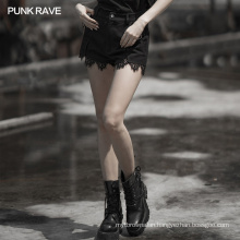 OPK-313 Punk Rave Denim Lace Stitching Shorts Ladies Hot Pants Short Jeans High Waist Polyester / Cotton PUNK STYLE Plain Dyed