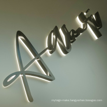 Hot sale 3d led letters popular acrylic store front sign illuminate backlit letter company wall led letter