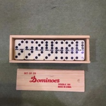 Double 6  dominoes packed in Wooden box