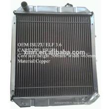 Chine fabricant fournie radiateur laiton / cuivre pour ISUZU NPR ELF camion radiateur