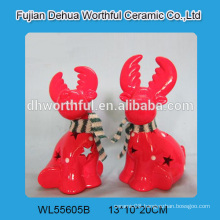 Red ceramic reindeer christmas decoration with led