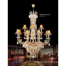 Classical Brass Crystal Pendant Lamp with Shade for Hotel