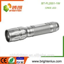 Factory Supply Custom Made Pocket Aluminum Material Sliver AA Battery Powered Bright 1watt Promotion led torch flashlight