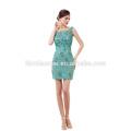 Vestido de noche corto con cuentas verde elegante vestido de fiesta barato 2017