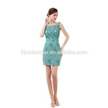 Grünes geschnürtes kurzes Abendkleid des Perlens elegantes billiges Abschlussballkleid 2017