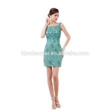 Green laced beaded short evening dress elegant cheap prom dress 2017