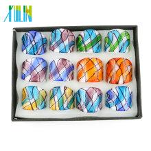 Tomada de fábrica de moda colorido vidro anéis 12pcs / box, MC1005