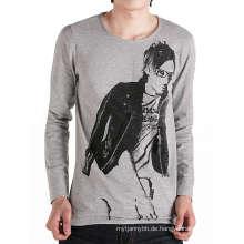 Mode-Design-Druck mit Reißverschluss auf Front Cotton Custom Men T-Shirt